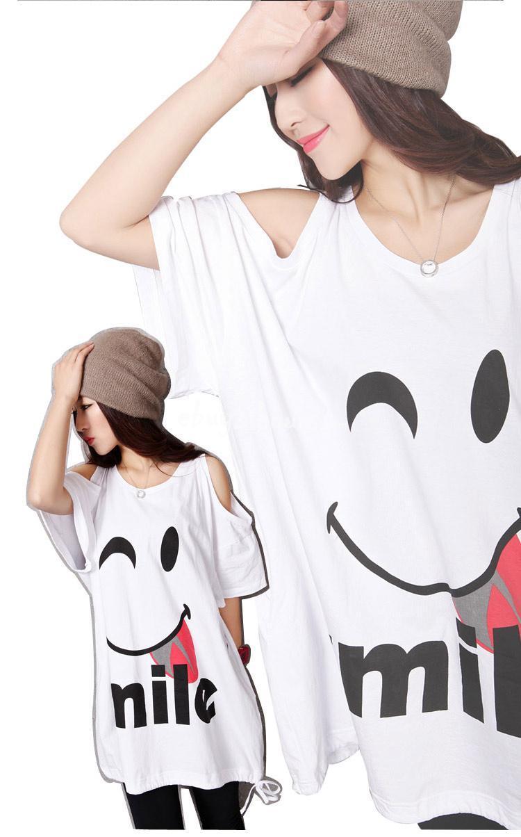 Summer Big Girls Shoulder Cut Bat Sleeve Smiley T-shirts #2092902 - Weddbook