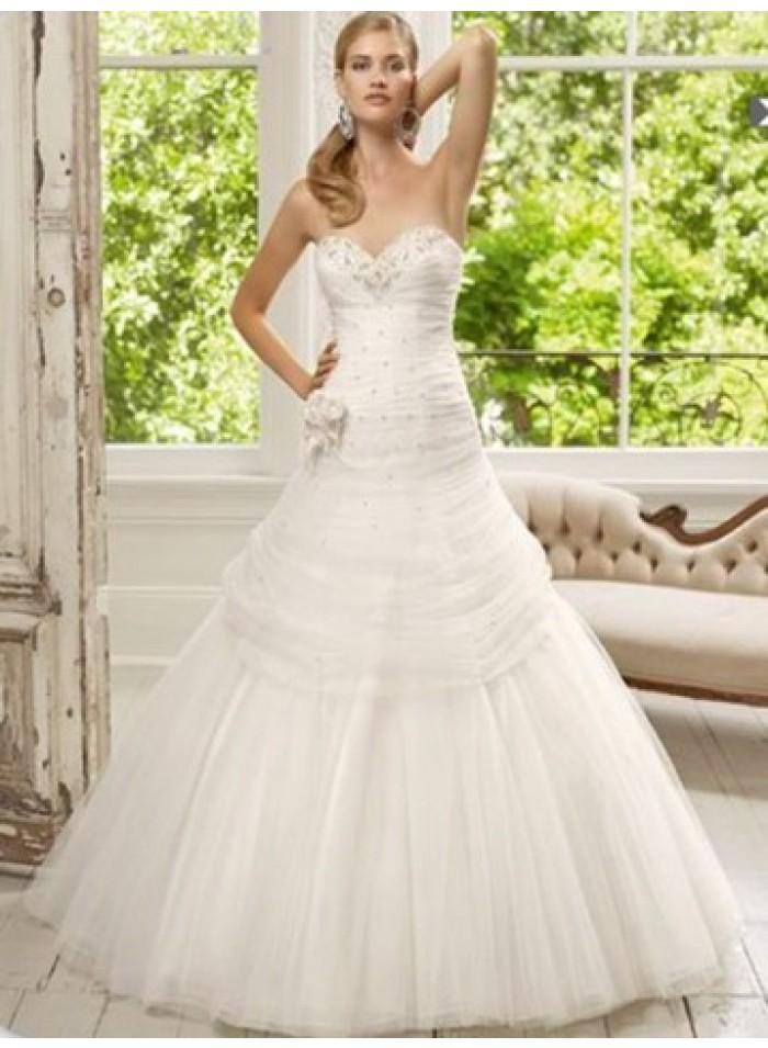 Mariage - A-line Sweetheart Beading Ruching Floor-length Tulle Wedding Dresses WE3996