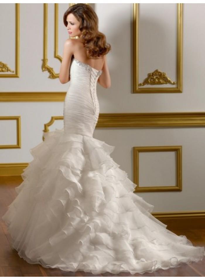 Mermaid Sweetheart Beading Ruching Sweep Train Organza Wedding Dresses WE3995