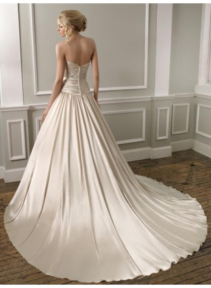 A line sweetheart ruching brush train satin wedding for A line wedding dress with ruching