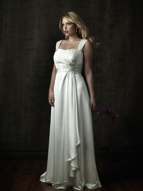 Wedding - Organza Satin Satin Chapel Train Strapless A-line Wedding Dress(WD0908)