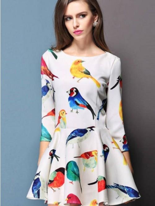 Wedding - 3/4 Sleeve Bird Dress