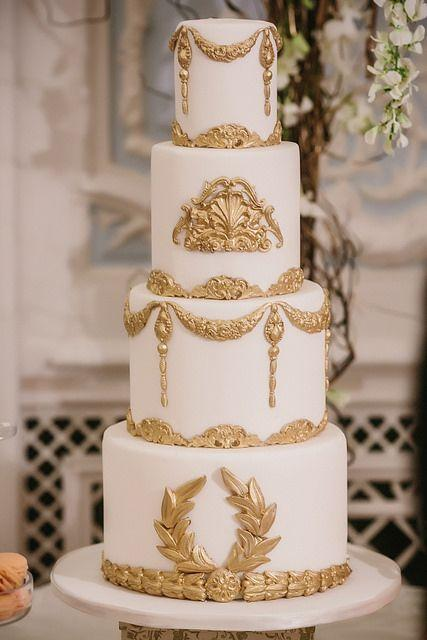 Gold Wedding , White \u0026 Gold Wedding Cakes 2097280 , Weddbook