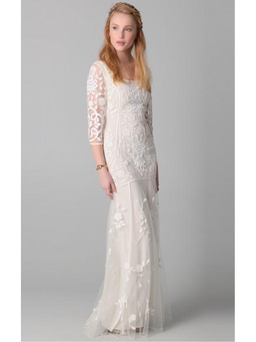 Wedding - Fancy White Sheath Floor-length Scoop Dress