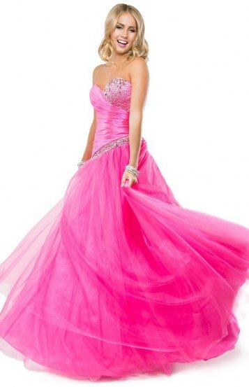Hochzeit - Pink Strapless Asymmetrically Beading Dropped-waist Tulle Ball Gown