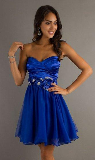 Wedding - Navy Short Floral Accents Strapless Pleated Party Dress 2014