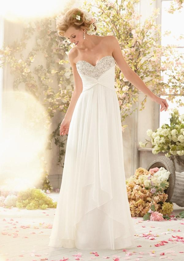 Hochzeit - Sparkling Crystal Beading On Delicate Chiffon Wedding Dresses(HM0241)