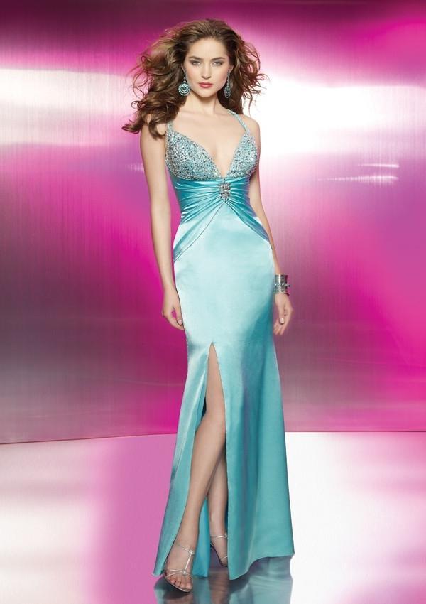 Свадьба - Sheath Floor-length Elastic Satin V-neck Prom Dress With Slit PD0018
