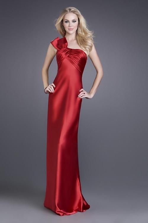 Mariage - Gorgeous Sheath Floor-length Satin One-shoulder Evening/Prom Dress PD0046