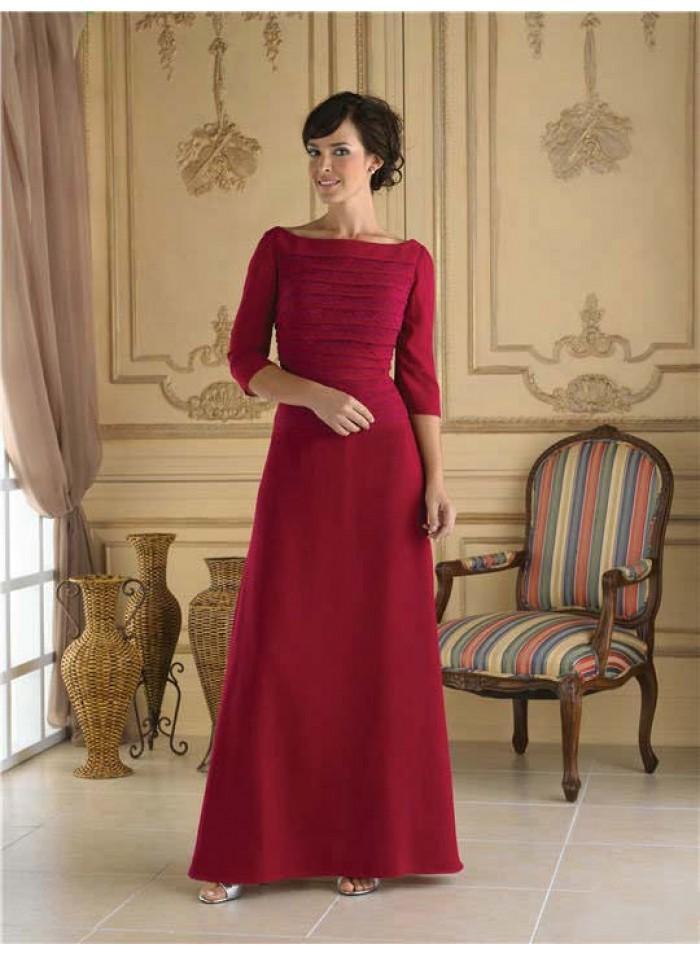 Wedding - A-line 3/4 Length Sleeve Ankle-length Elegant Natural Burgundy Satin Mother Dresses WE4559
