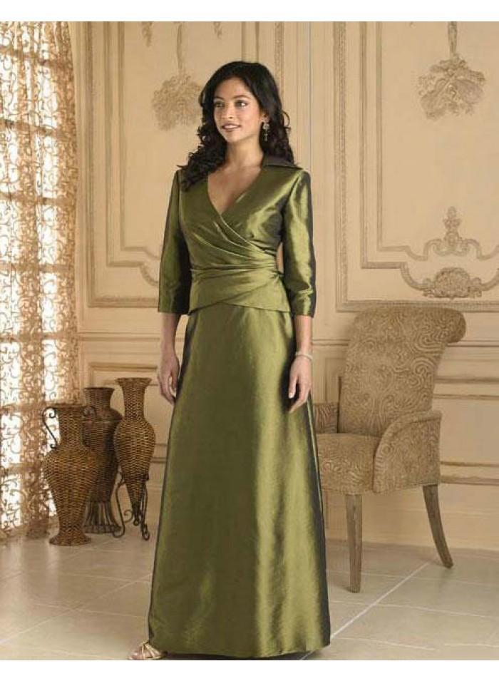 Hochzeit - A-line 3/4 Length Sleeve V-neck Floor-length Elegant Natural Green Satin Mother Dresses WE4557