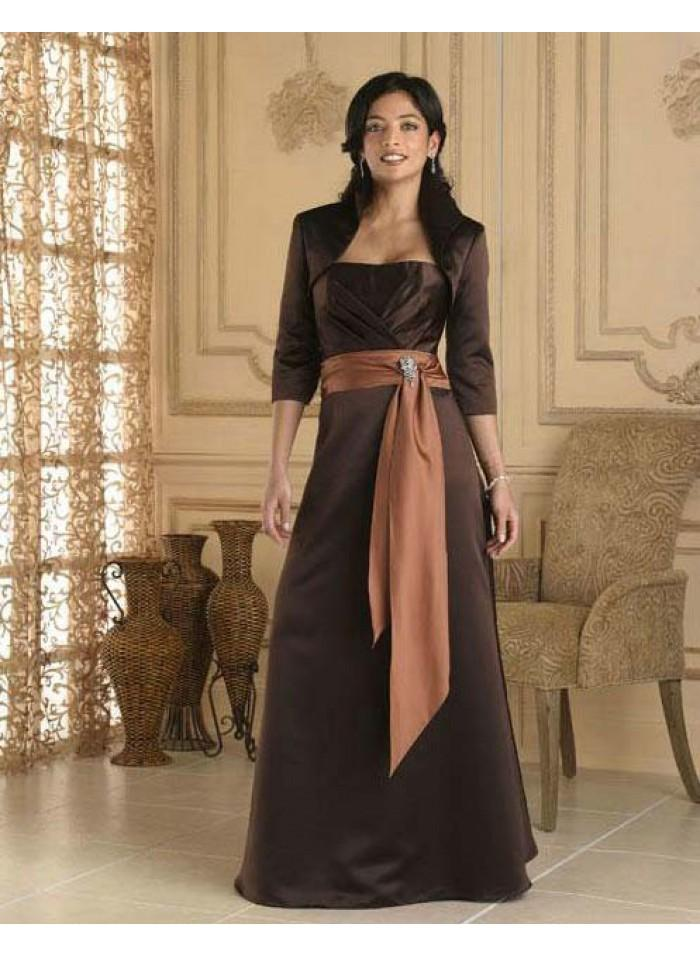 Düğün - A-line Strapless Orange Sashes Floor-length Elegant Natural Chocolate Satin Mother Dresses With Wrap WE4556