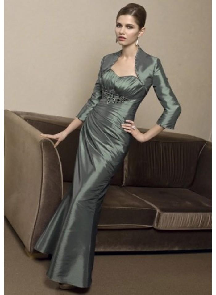 Свадьба - Strapless Sweetheart Appliques Column/Sheath Floor-length Elegant Natural Light Slate Gray Taffeta Mother Dresses With Wrap WE4565