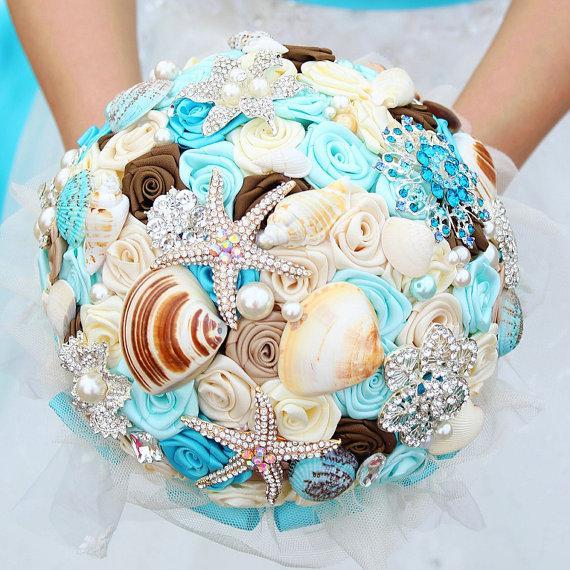 Dreamy Ocean Bouquet Shells Crystals Starfish Brooch Bouquet