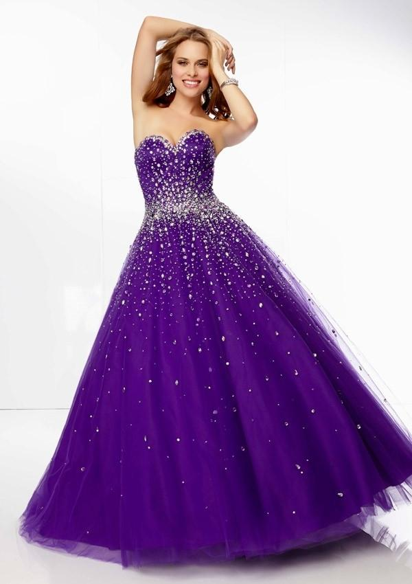 Beautiful Beads Tulle Princess Floor Length Diamonds Lace Up Prom Dress PD0588