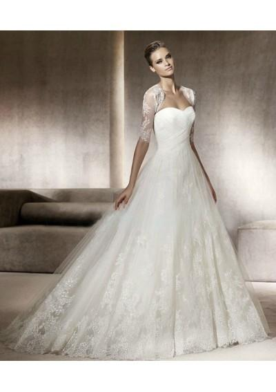 Свадьба - Tulle Strapless Sweetheart Neckline With A-line Draped Skirt With Chapel Train 2012 Wedding Dress WD0049