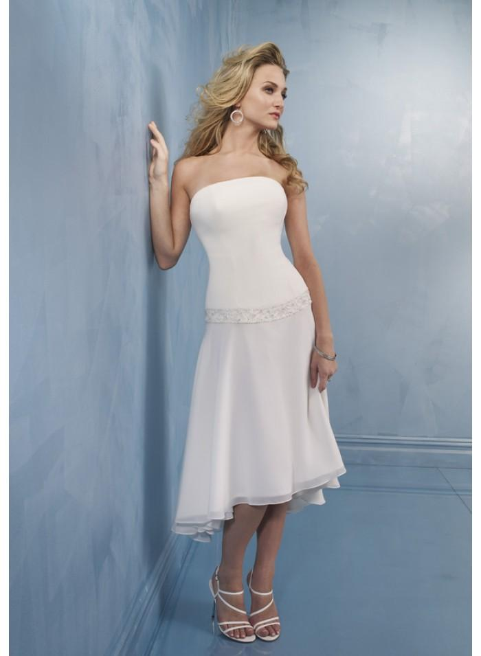 Wedding - Strapless Empire Princess Sheath Knee-length Asymmetrical Wedding Dresses WE1095