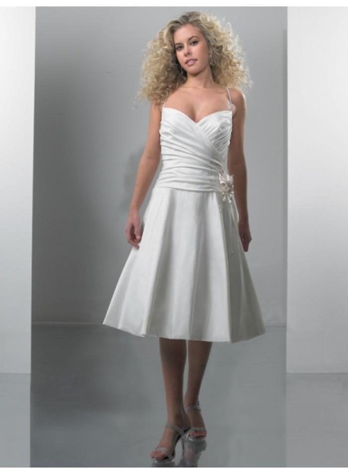 A line tea length v neck empire spaghetti strap princess for V neck tea length wedding dress
