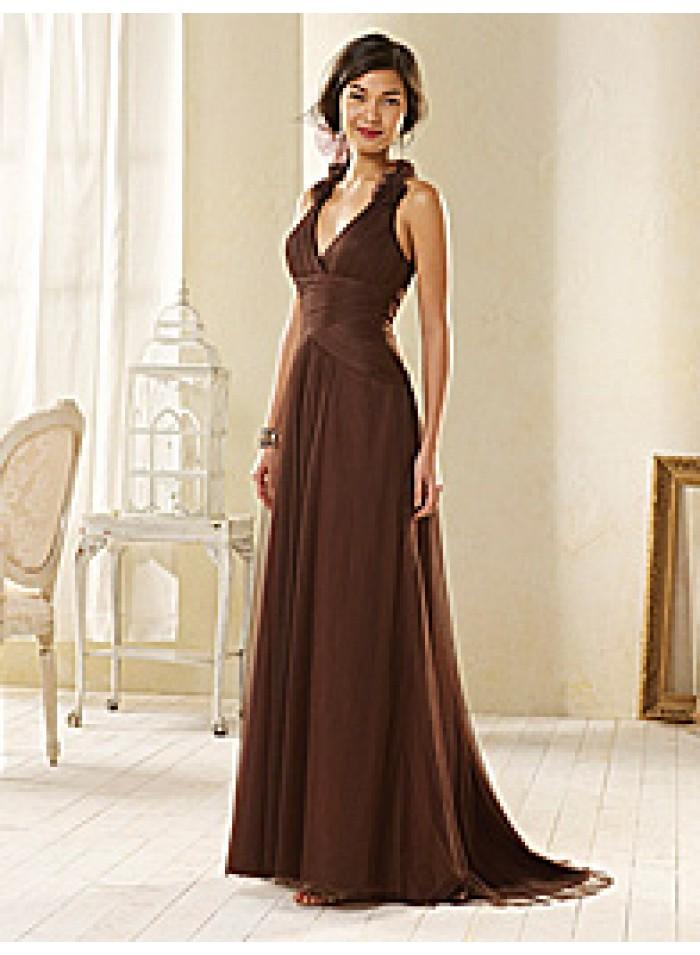 زفاف - Halter Sweep Train Sheath Ruching/ Organza Chocolate Celebrity Dresses WE1108