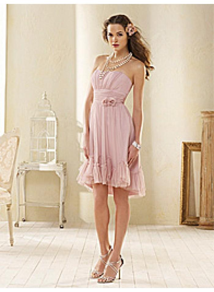 زفاف - Asymmetrical Strapless/ Pink Ruching Organza Knee-length Flower Celebrity Dresses WE1104