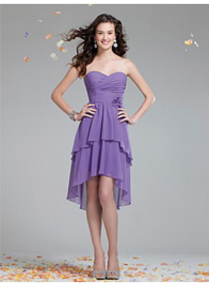 زفاف - Asymmetrical Sweetheart/ A-line Sheath Chiffon Purple Celebrity Dresses WE1103