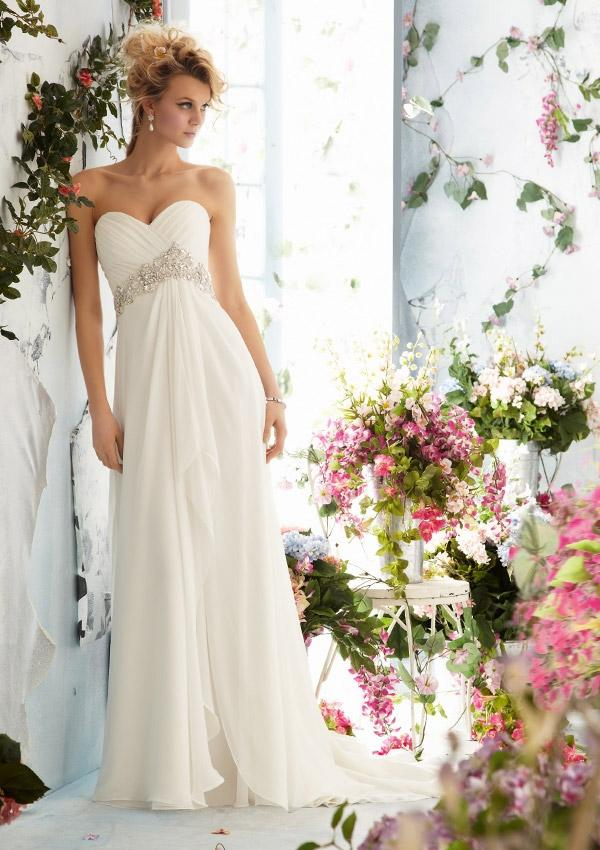 Mariage - Crystal Beaded Empire On Luxe Chiffon Wedding Dresses(HM0252)