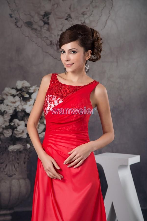 Mariage - Scoop-neck Red Sheath Floor Length Chiffon Prom Dress With Lace And Shirring(ZJ6599)
