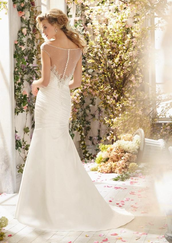 Hochzeit - Intricately Beaded Appliqués On Soft Satin Wedding Dresses(HM0245)