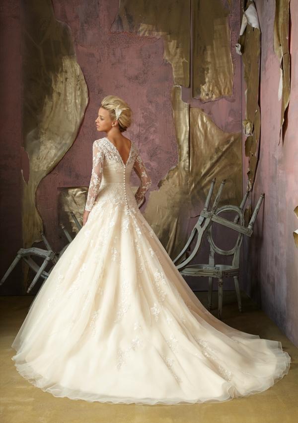 Wedding - Embroidered Net With Satin Cummerbund Wedding Dresses(HM0070)