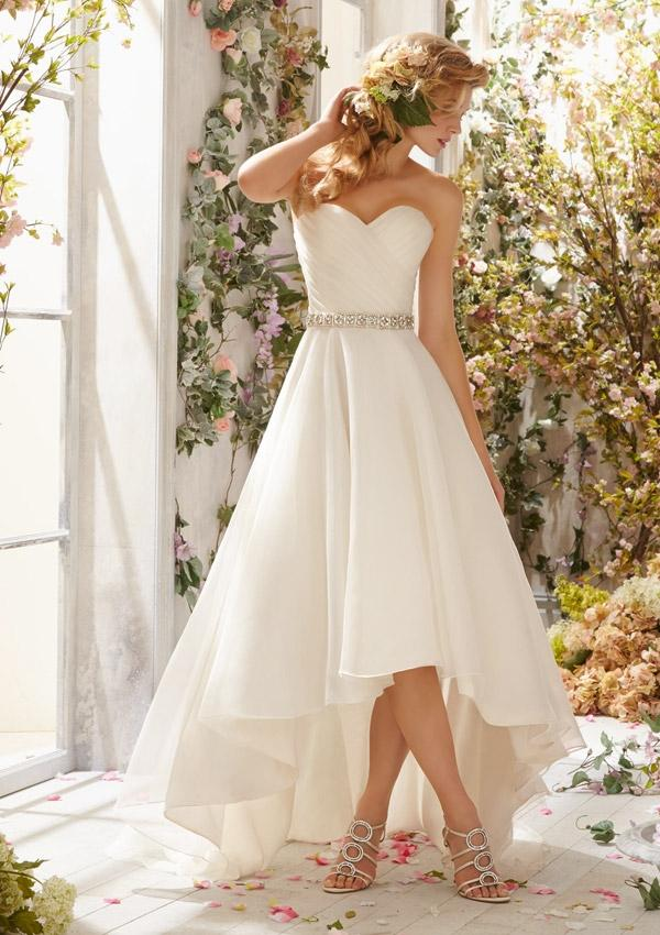 Organza hi lo gown shown with crystal beaded satin belt for Hi lo wedding dress