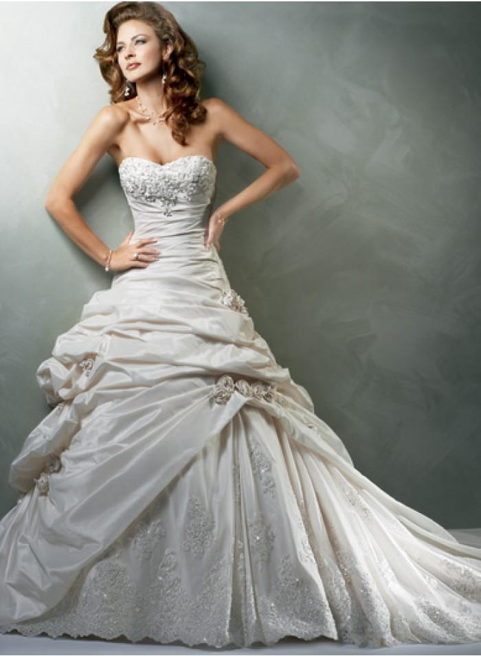 Wedding - A-line Strapless Appliques/Beading/Flowers/Lace/Ruching Cathedral Train Princess Glamorous Natural Taffeta/Lace Wedding Dresses WE2684