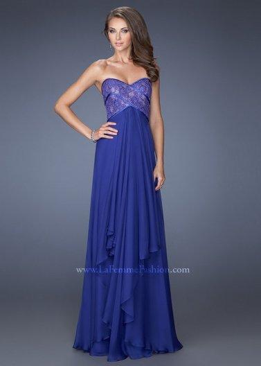 Hochzeit - Indigo Strapless Jewel Adorned Lace Top Tiered Chiffon Prom Dress