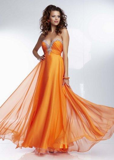 Свадьба - Jweles Beaded Neckline Orange Long Corset Back Prom Dress