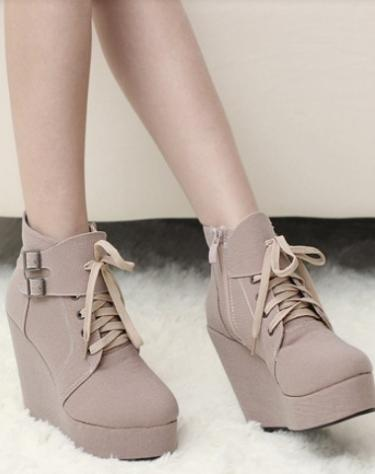 Mariage - Fashion Style Low Heels Color Block Shoes Boot White BT1465