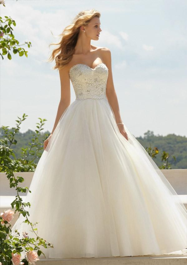 Classic Embroidered Lace On Tulle Wedding DressesHM0269 2105136