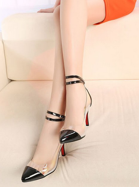 Wedding - Korean Style Silver Embellished Hight Heel Pump Black Black PM0288