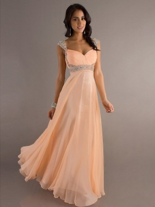 Mariage - Floor-length A-line Straps Beading Chiffon Prom Dress