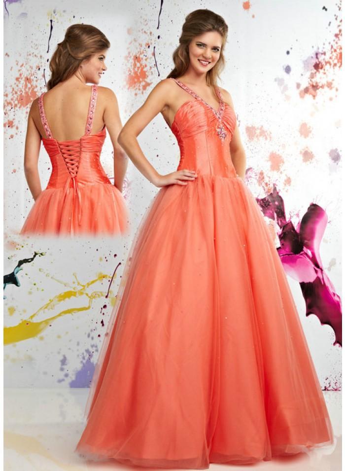 Wedding - A-line Spaghetti strap V-neck Bow Ruched Sheath Sweep-train Wedding Dresses WE1043