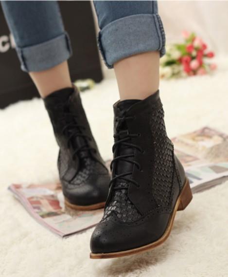 Hochzeit - Western Style Woolen Embellished High Heels Short Boot Green BT1172