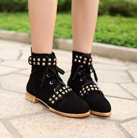 زفاف - Korean Style Lacing High Heels Shoes Short Boot Green BT1169