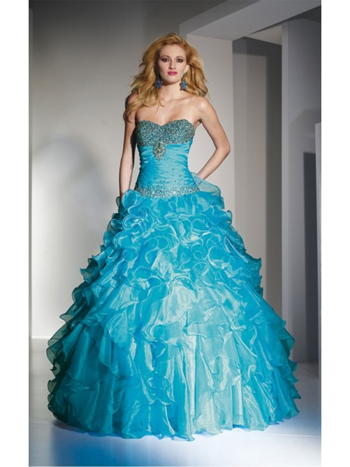 Свадьба - Amazing Blue A-line Floor-length Sweetheart Dress