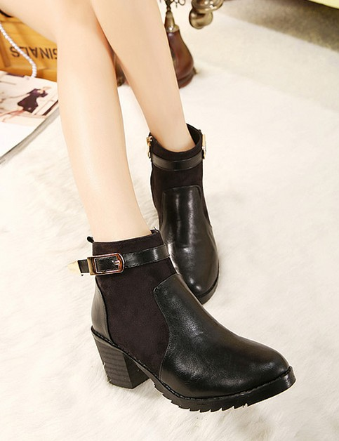 Wedding - Western Style High Heels Shoes Short Boot Black BT0675