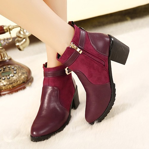 Mariage - Western Style High Heels Shoes Short Boot Black BT0674