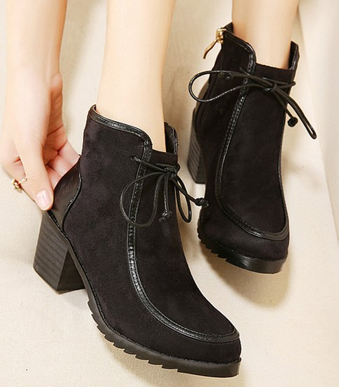 Wedding - Western Style High Heels Shoes Short Boot Black BT0673