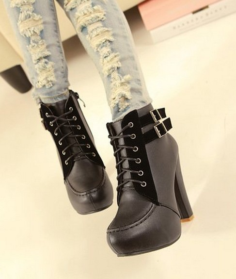 Свадьба - Western Style Rivet Color Block Shoes Boot Black BT0668