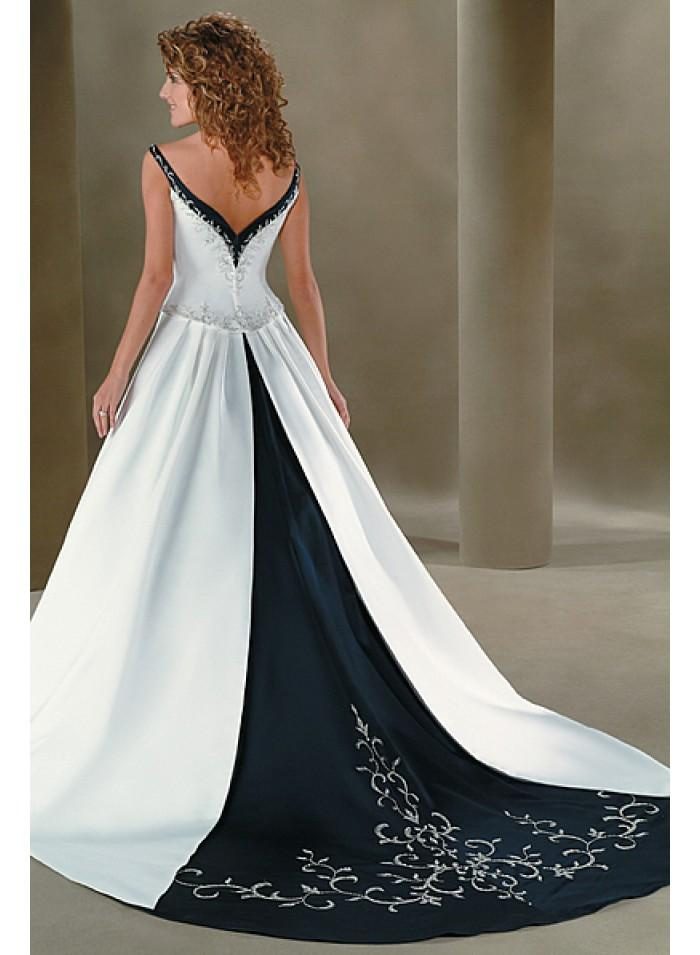 Wedding - A-line V-neck Spaghetti strap Embroidery Empire Sweep-train Floor-length Wedding Dresses WE1634