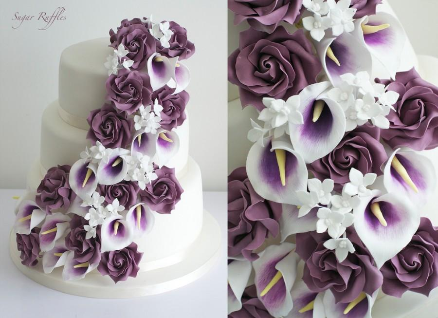 Purple Wedding - Purple Cascade Wedding Cake #2110111 - Weddbook