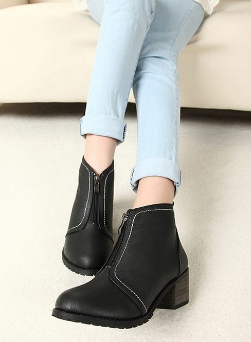 Свадьба - Western Style Button Embellished Low Heels Shoes Boot Brown BT0976