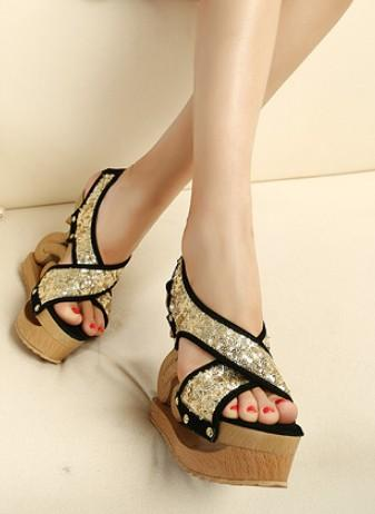 Wedding - Korean Style Wedge Peep Toe Sandals Shoes Yellow Yellow SD0503