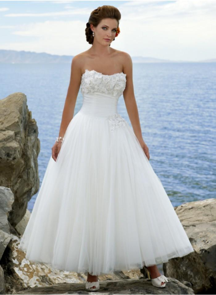 A line sweetheart strapless empire ankle length wedding for T length wedding dresses